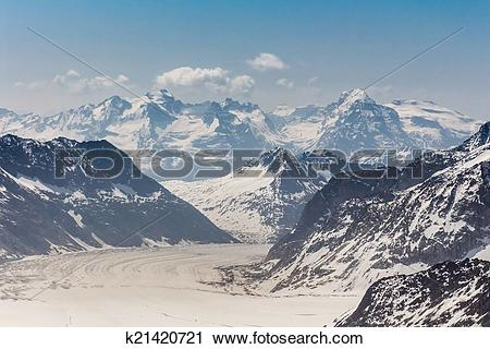Stock Photography of Aletsch Glacier in the Jungfraujoch, Swiss.