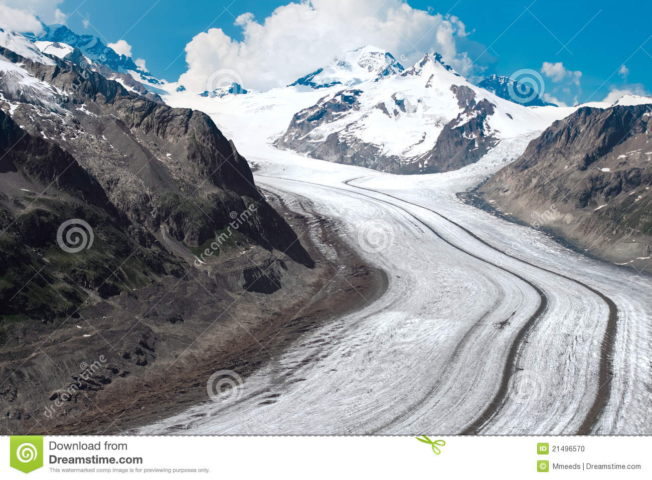 Aletsch Glacier In The European Stock Photo.