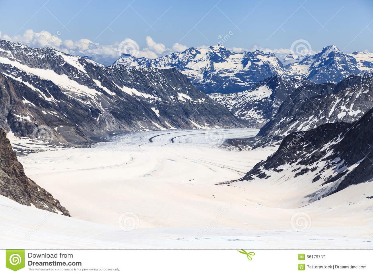 Jungfrau Station And Aletsch Glacier, Switzerland Stock Photo.