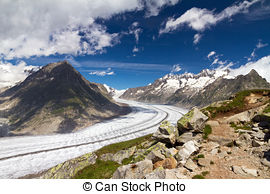 Stock Photographs of Aletsch glacier in summer.