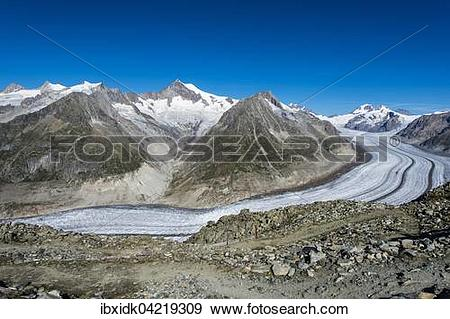 Stock Photograph of Great Aletsch Glacier, panoramic view in.