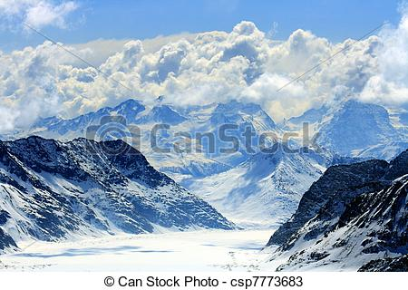 Stock Photos of Aletsch alps glacier Switzerland.