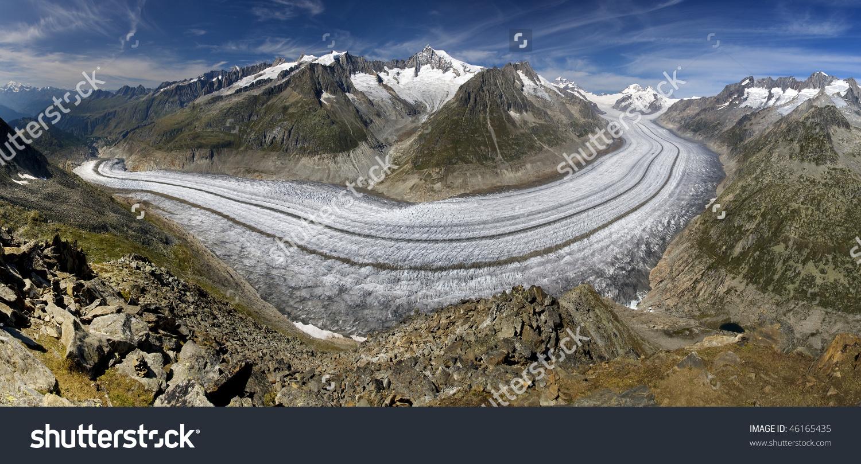 Aletsch Glacier Aletschgletscher Largest Glacier Europe Stock.