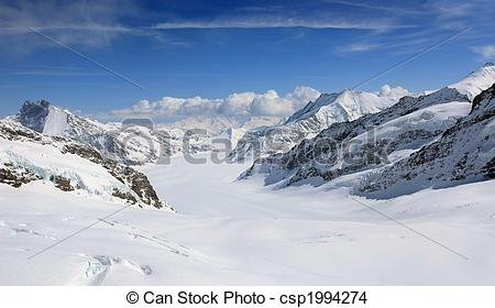 Stock Photo of Aletsch glacier view from the Jungfrau csp1994274.