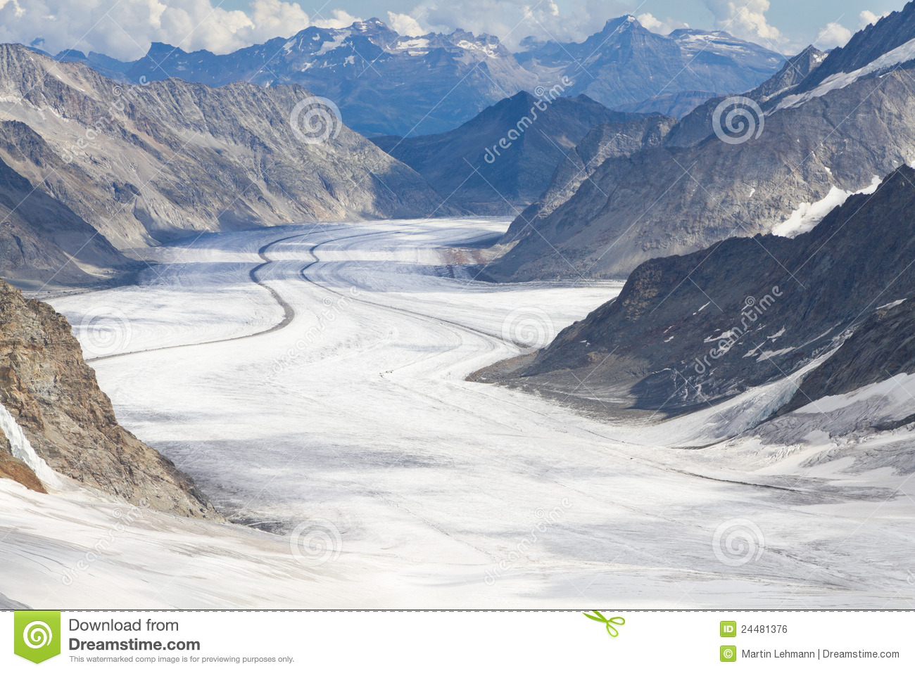 Great Aletsch Glacier, Switzerland Stock Photos.