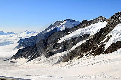 Jungfrau Massive And Eiger North Wall From Murren, Switzerland.