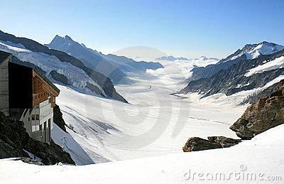 Aletsch Glacier In The European Stock Photo.