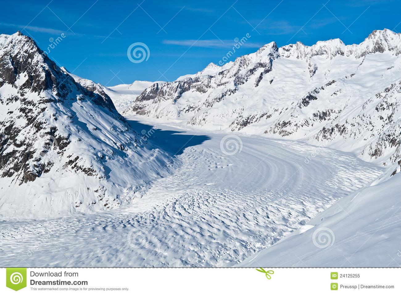 Aletsch Glacier In Winter Royalty Free Stock Photos.