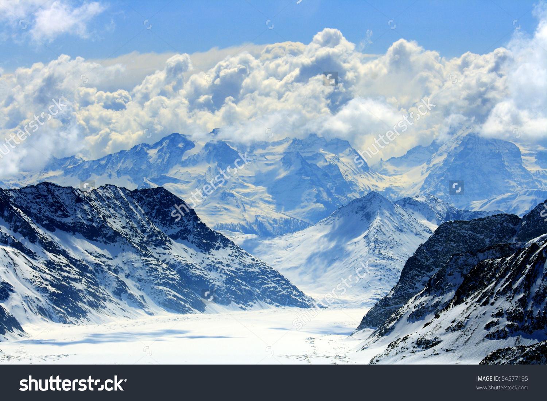 Great Aletsch Glacier Jungfrau Jungfraujoch Part Stock Photo.