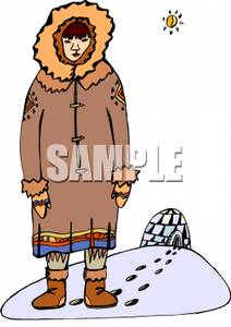 An Eskimo By an Igloo.
