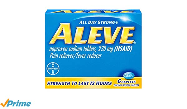 Aleve Caplets, Naproxen Sodium 220 mg (NSAID), Pain Reliever/Fever Reducer,  #1 Orthopedic Surgeon Recommended, 6 Count.