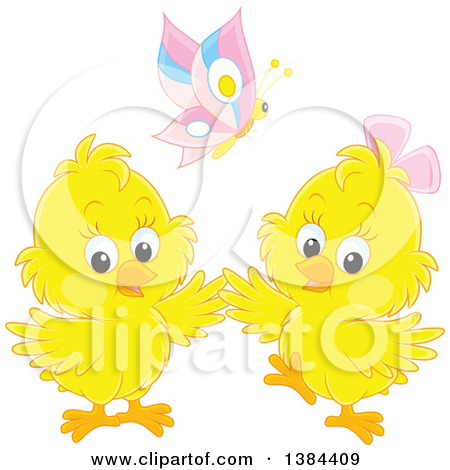 Clipart of a Butterfly over Two Yellow Spring Chicks.