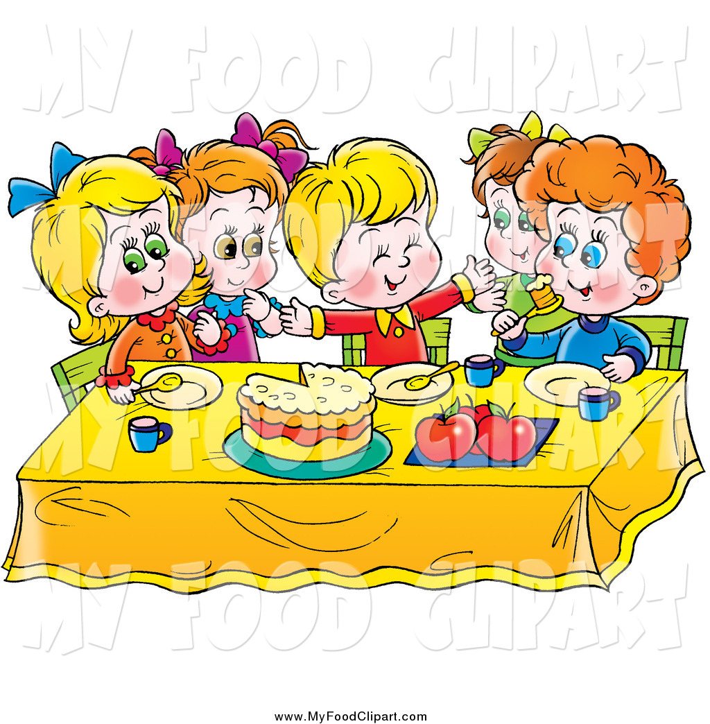 Food Clip Art of a Group of Happy Children Eating Cake at a Table.