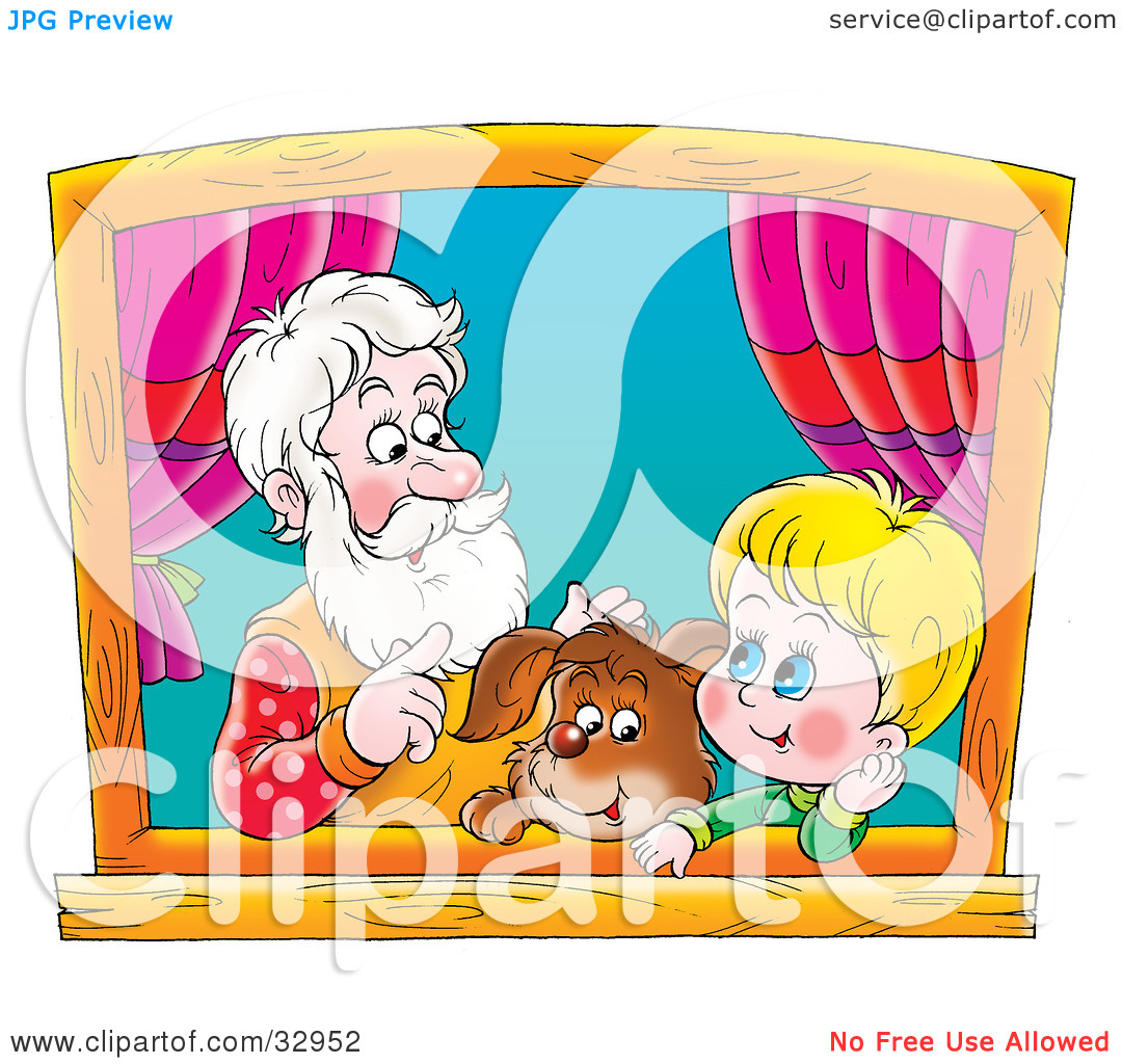 Clipart Illustration of a Puppy, Boy And Grandfather Talking And.