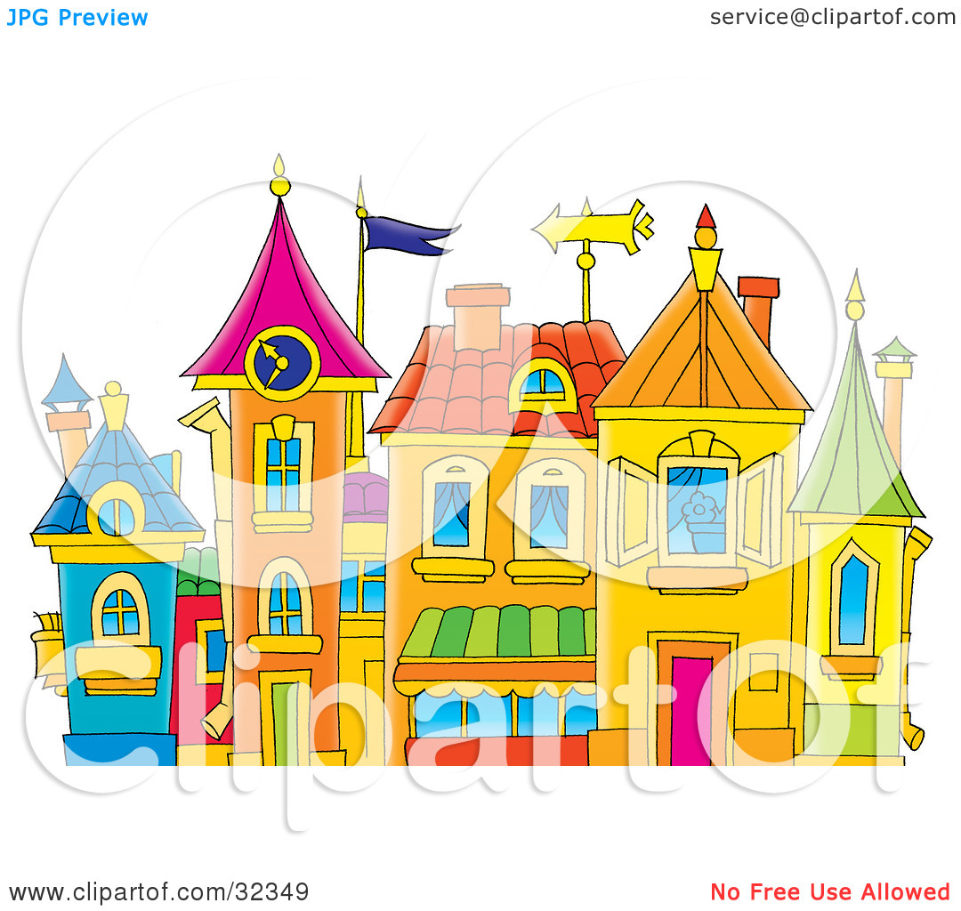 Clipart Illustration of a Group Of Colorful Buildings With Turrets.