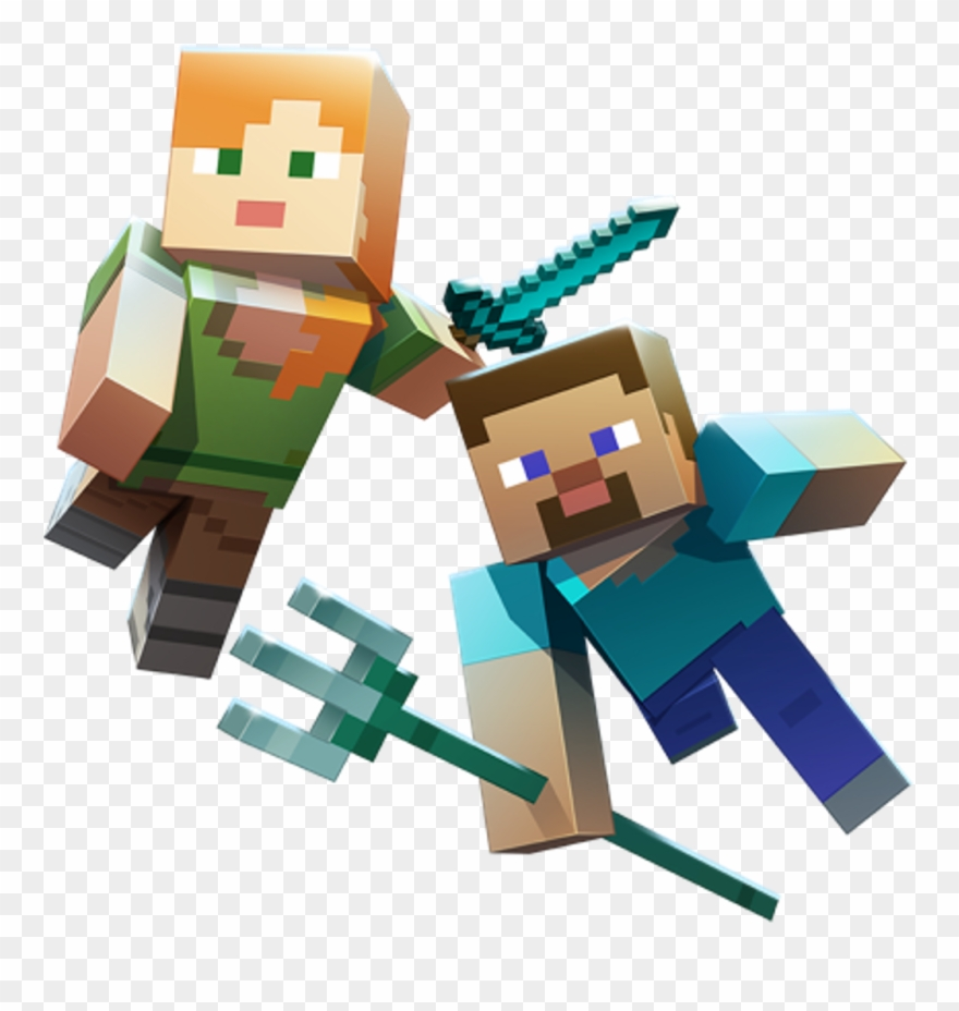 Minecraft Aquatic Steve Alex Trident Sword Diamond Clipart.