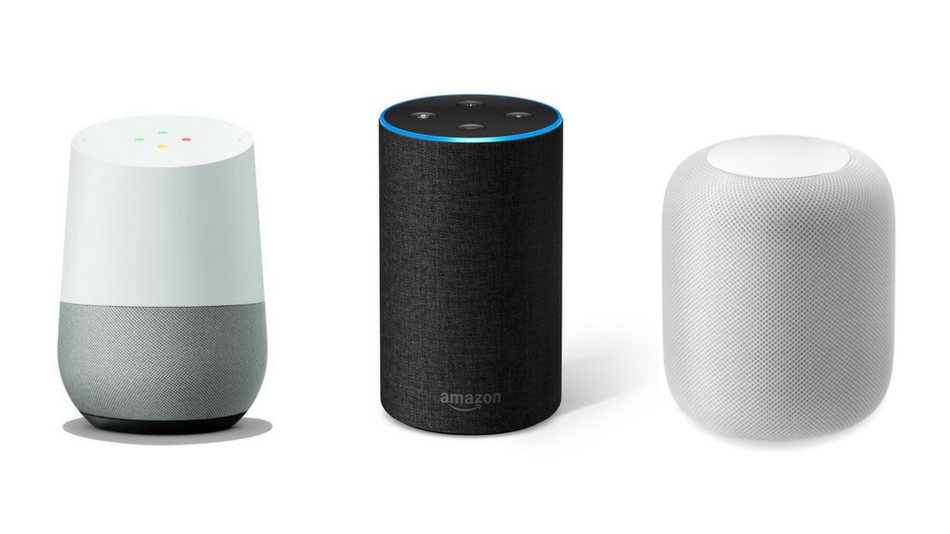 Comparing Echo and other Amazon devices, Google Home and Apple HomePod.