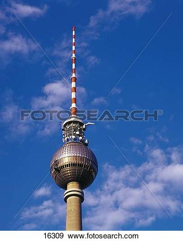 Stock Photograph of High section view of communications tower.