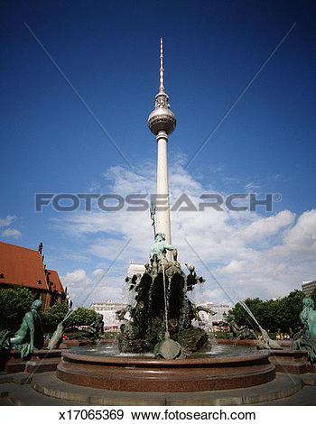 Stock Photograph of Neptune Fountains, Alexanderplatz Square.
