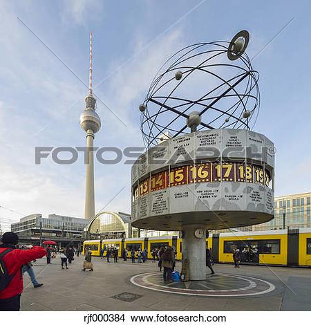 Stock Photo of Germany, Berlin, Alexanderplatz, TV Tower and World.