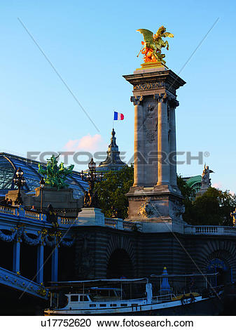 Stock Photography of Pont Alexandre III Tower and Grand Palais.