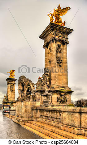 Stock Photos of Sculptures at the entrance to the Pont Alexandre.
