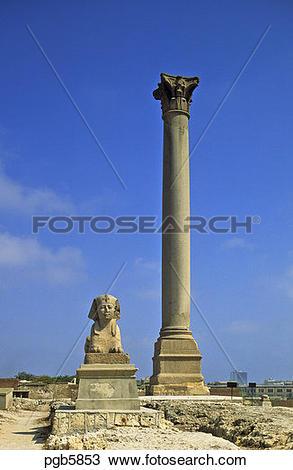 Stock Photo of Egypt. Alexandria. Pompei's Pillar/Column, 25m tall.