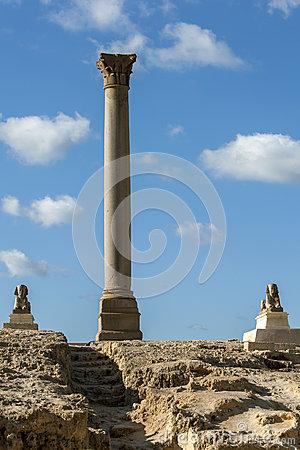 Pompey's Pillar Alexandria Egypt Stock Photo.