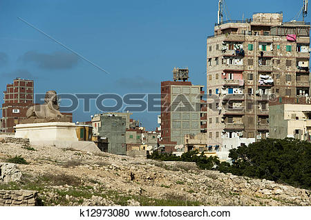 Stock Photography of the of Pompey's Pillar of Alexandria ancient.