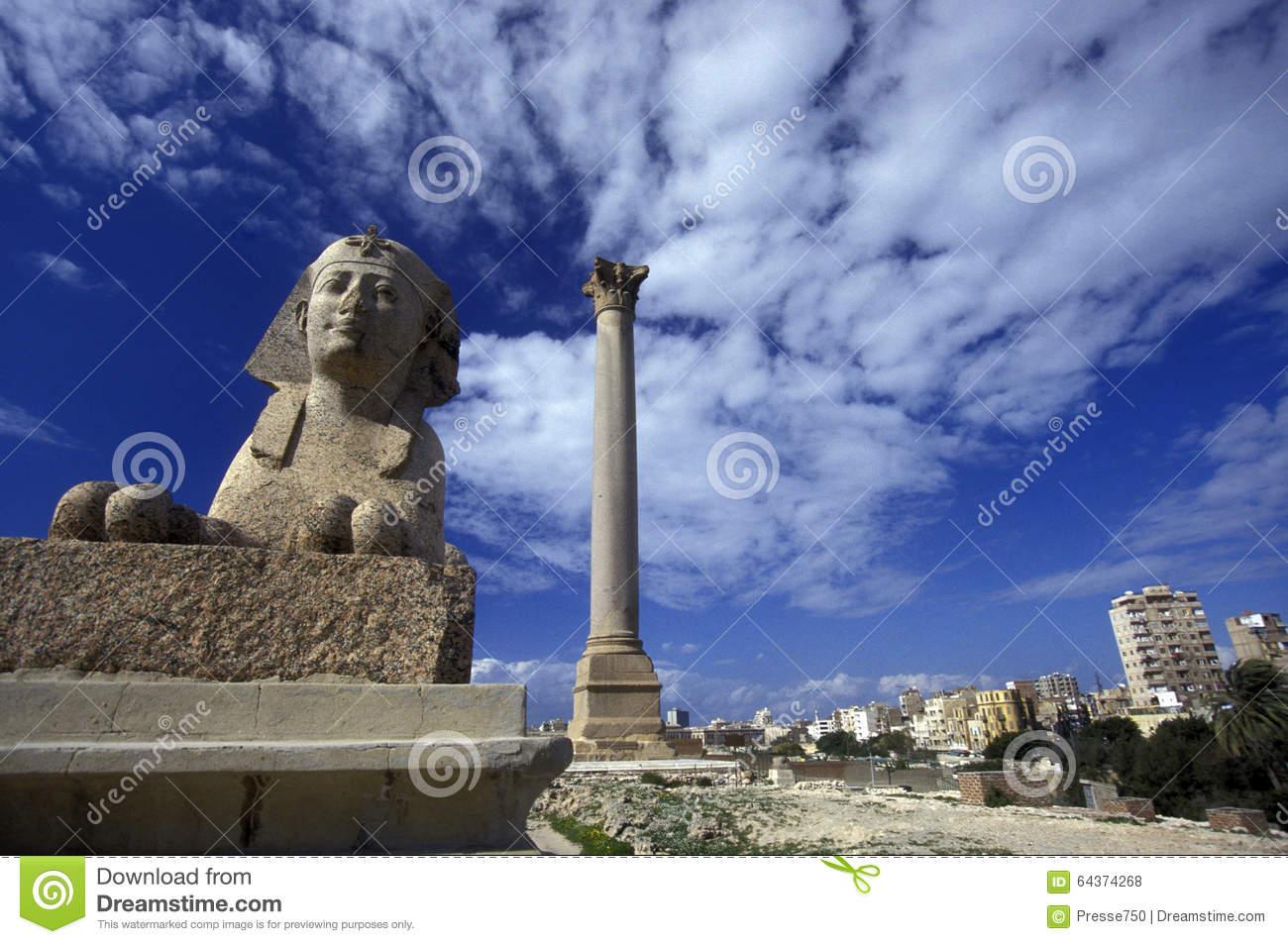AFRICA EGYPT ALEXANDRIA CITY POMPEY PILLAR Editorial Stock Photo.