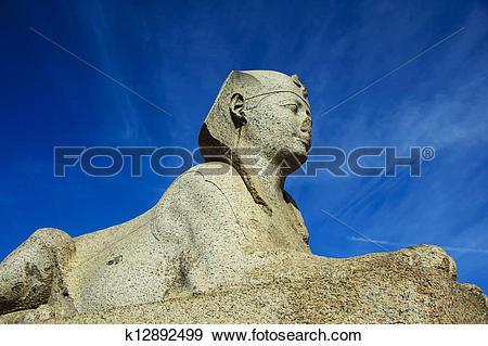 Stock Photograph of sphinx of Pompey's Pillar area in Alexandria.