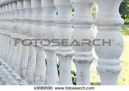 Stock Photography of Antique stone balustrade with pillar.