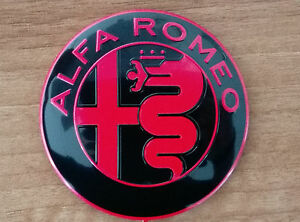 Details about Alfa Romeo NEW GIULIA BLACK&RED emblem badge logo 74mm  147,159,Guilietta.