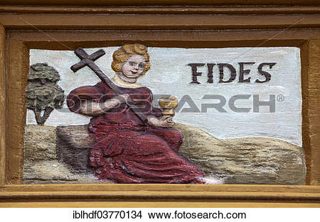"""Stock Photo of """"Fides, Latin for faith, wood carving, Alte."""