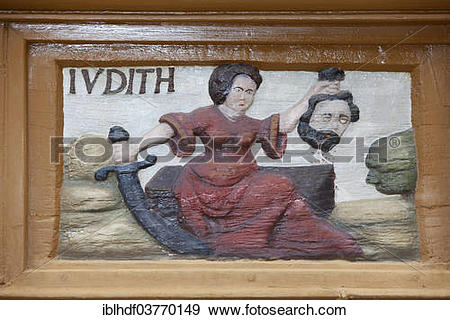 """Stock Photograph of """"Judith holding the head of Holofernes, wood."""