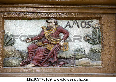 """Stock Photograph of """"The prophet Amos, wood carving, Alte."""