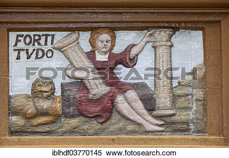 """Stock Image of """"Fortitudo, Lain for bravery, wood carving, Alte."""