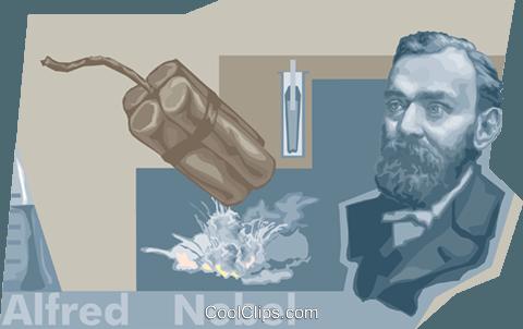Alfred Nobel Royalty Free Vector Clip Art illustration.