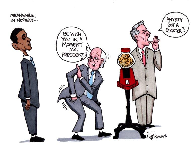 FlipFlopBarack, Political Satire Cartoon and Editorial, Alfred.