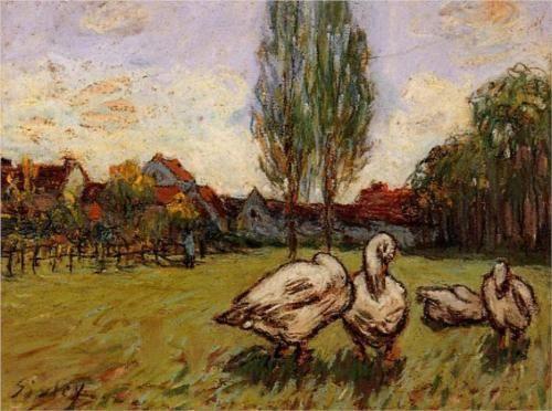 "Geese"" by Alfred Sisley using pastels in 1897."