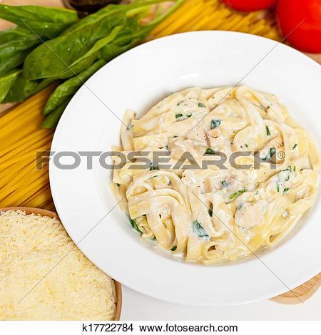 Stock Photo of Chicken fettuccine alfredo k17722784.