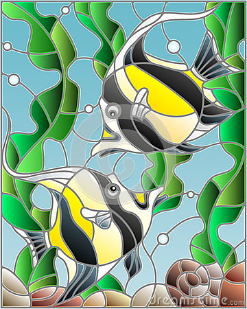 Stained Glass Illustration With A Pair Of Moorish Idols On The.