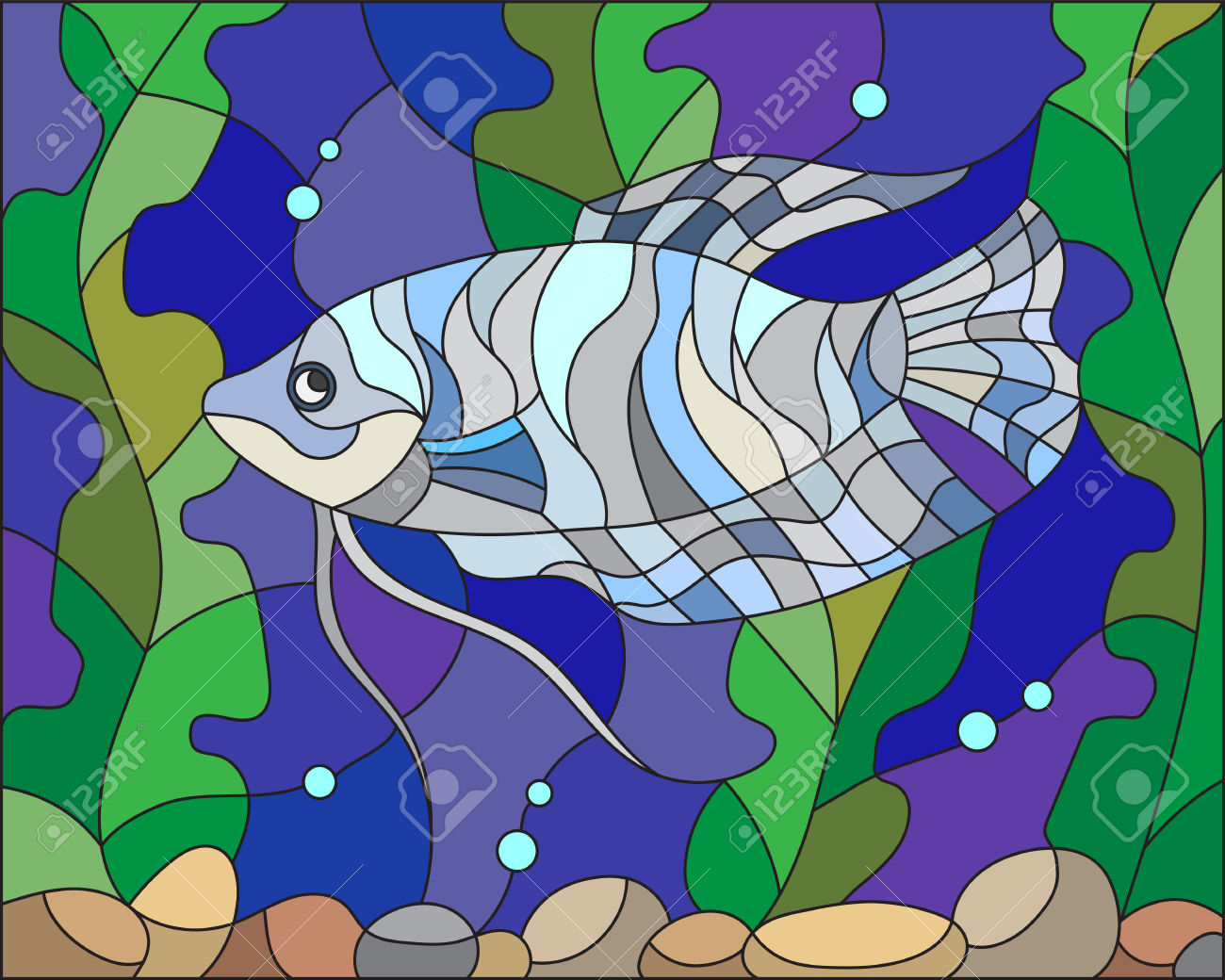 Illustration In Stained Glass Style With Blue Gourami On The.