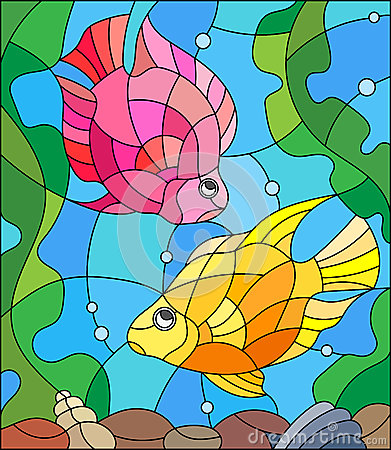 Stained Glass Picture Of Aquarium Fishes On The Background Of.