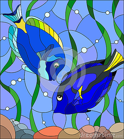 Stained Glass Illustration Of Aquarium Fish On The Background Of.