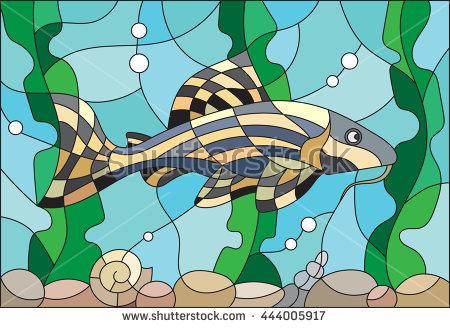 Illustration In Stained Glass Style With A Catfish On The.