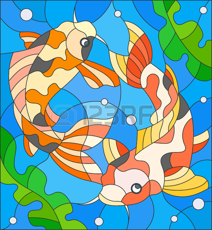 Illustration In Stained Glass Style With A Pair Of Carps On The.