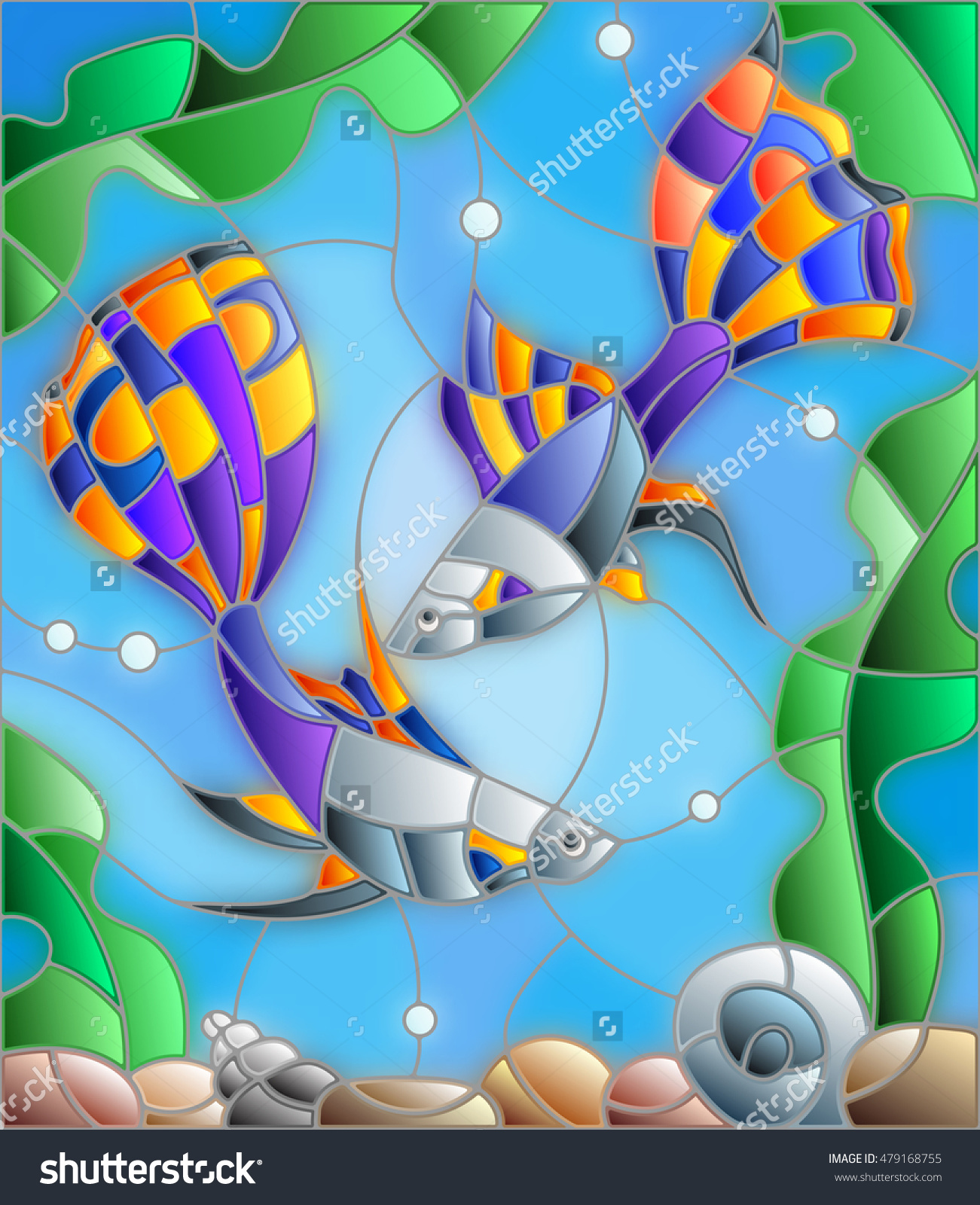 Illustration In Stained Glass Style With A Pair Of Guppies On The.