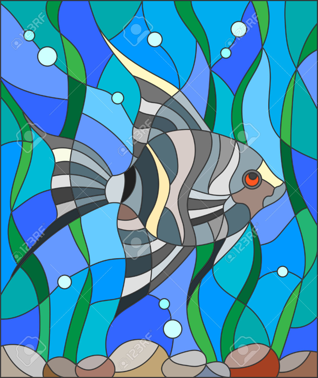 Illustration In Stained Glass Style Fish Scalar On The Background.