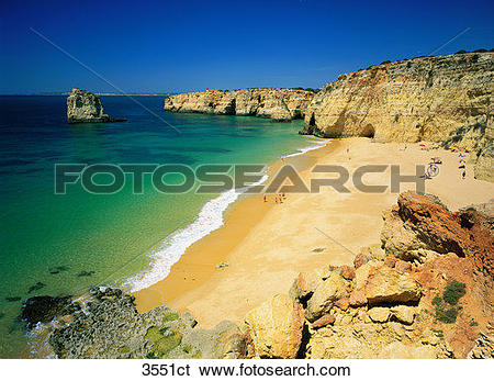 Stock Images of Portugal, Algarve, Praia Carneiros. 3551ct.